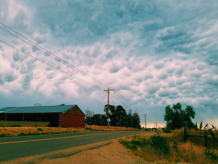Clouds Bubbly Sky Road Barn Tree Storm Weather Grass Nature