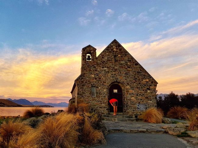 The Church of Good Sheperd , Lake Tekapo, New Zealand Amazing Destination Travel Outdoors Tourist Destination Travel Photography EyeEm Sunset New Zealand Scenery Lake Tekapo, New Zealand Good Shepherd Church Church Nature Lake View Evening Caroline Majanil Beautiful Lakesideview Architecture Built Structure Building Exterior Spirituality Cloud - Sky Place Of Worship Beauty In Nature One Person Water Scenics Religion Real People Day