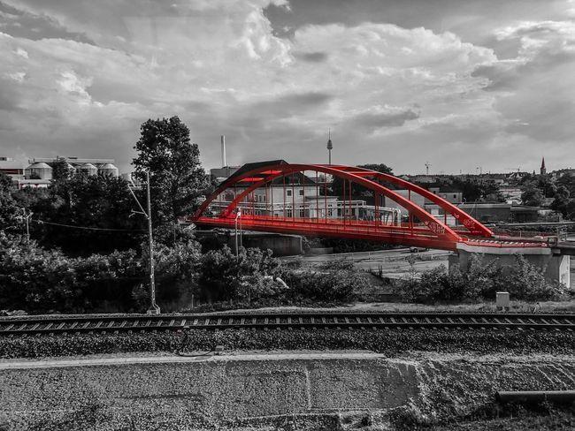 Red Bridge Red Train Bridge Sky Cloud - Sky Nature Transportation Built Structure Architecture No People