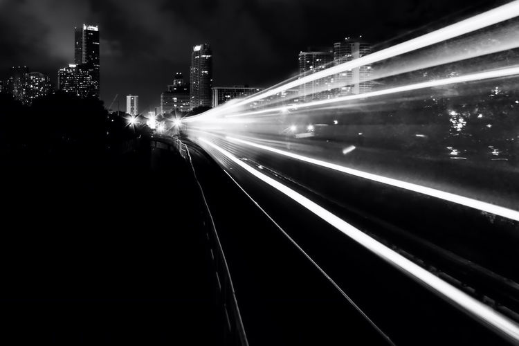 Train heading into Miami, Florida. Public Transportation Subway Metrorail Bw Bw_collection Bnw Bnw_collection Miami Miami, FL Skyline Long Exposure Monochrome Photography Welcome To Black Black And White Friday Mobility In Mega Cities The Street Photographer - 2018 EyeEm Awards HUAWEI Photo Award: After Dark My Best Travel Photo Capture Tomorrow