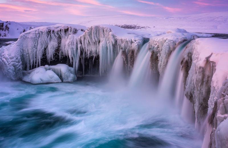Frozen godafoss waterfall, iceland
