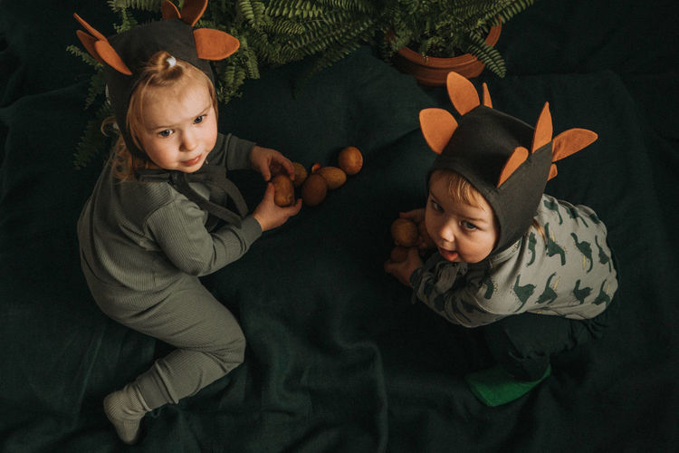 Toddler twins in funny dino costumes sitting with eggs in hands
