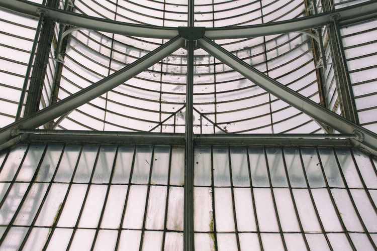 Kew Gardens Architectural Feature Architecture Backgrounds Building Building Exterior Built Structure Ceiling Design Full Frame Geometric Shape Glass - Material Indoors  Low Angle View Metal Modern No People Pattern Repetition Skylight Window