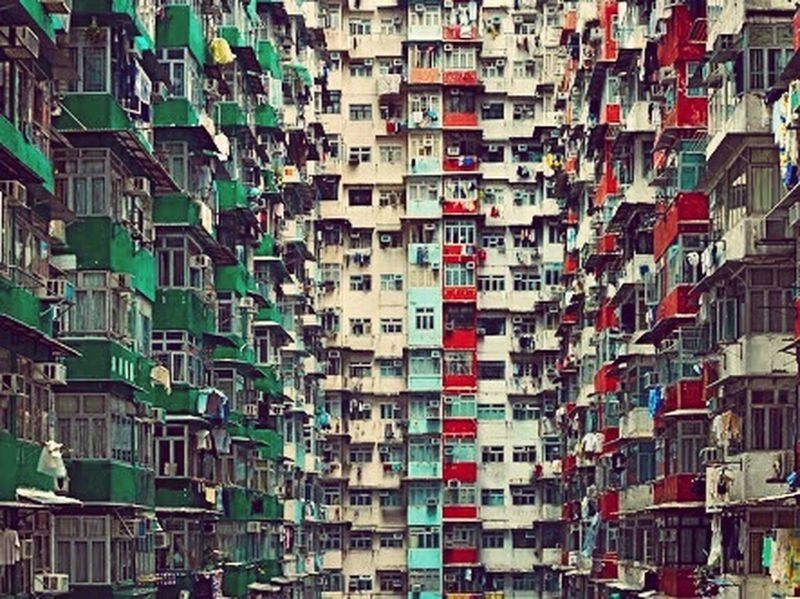 Colorful Buildings Apartments Heights Over Populated Buildings Standing Tall
