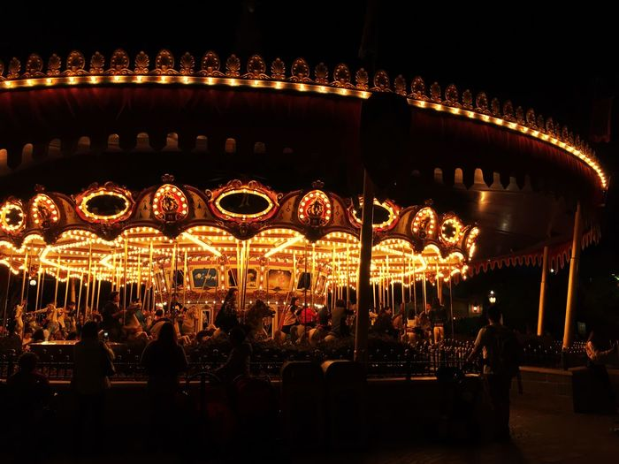 Carousel Lighting Equipment Night Amusement Park Arts Culture And Entertainment Disneyland HongKong Romantic Circle