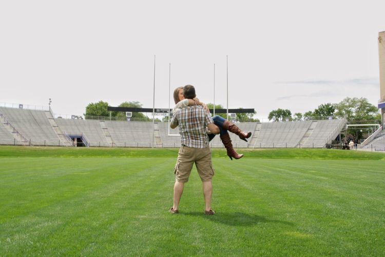 Football Football Stadium Football Couple Football Engagement Football Lovers Man Holding Woman Canon Rebel Xti