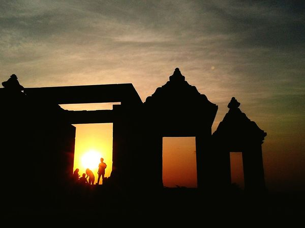 Looking To The Other Side Sunset Silhouettes Ratu Boko Temple Visit Indonesia PhonePhotography Wonderful Yogyakarta Twilight Sky Memories People Unforgettable Moment