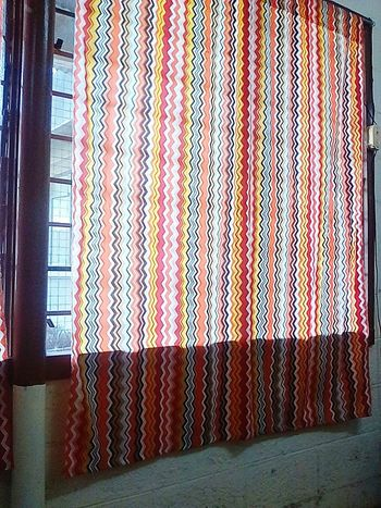 While waiting. Ssg curtain. Window Indoors  No People Day Pattern Hanging Orange Colour