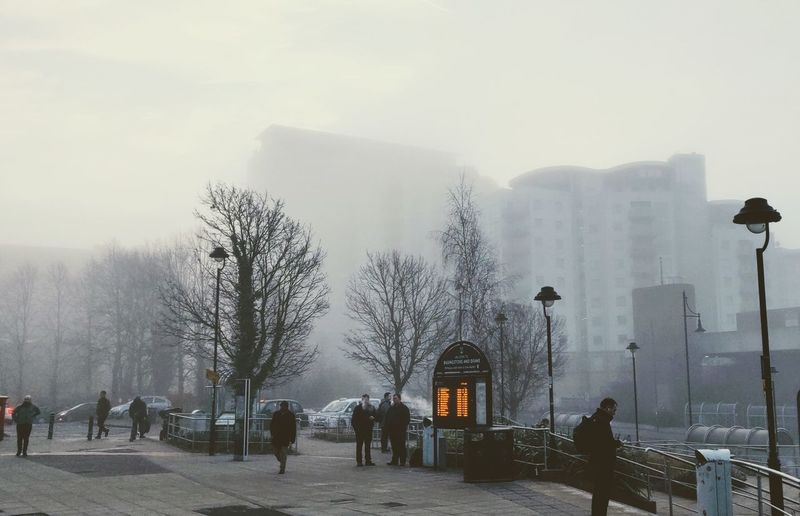 one foggy morning Photowalktheworld Foggy Foggy Morning Commuters Basingstoke, UK Oneplus6 Mobilephotography People Watching City Tree Snow Cold Temperature Winter Fog Warm Clothing Snowing Weather Sky Bare Tree