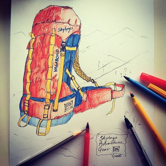 @inskybags @natgeotravel Travel Backpacks Backisthenewfront a Sketchy start to Morning . Unleash the Vagabond in you. Pick up Bags from new range of Skybags Adventure Rucksack . Used Sketchpens