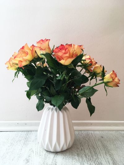 Flower Fragility Vase Freshness Petal Nature Rose - Flower Beauty In Nature Flower Head No People Growth Flower Arrangement Bouquet Roses Rose🌹 White Red Orange Art Is Everywhere Be. Ready.