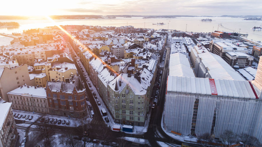 High angle view of city during winter
