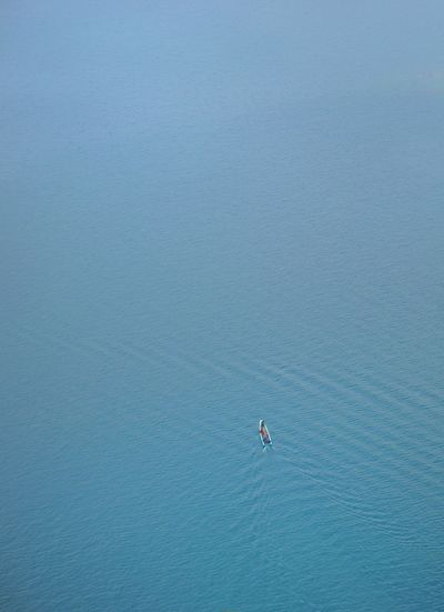 High angle view of person surfing in sea