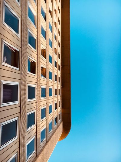 Architecture Building Exterior Window Built Structure Blue Clear Sky Low Angle View No People