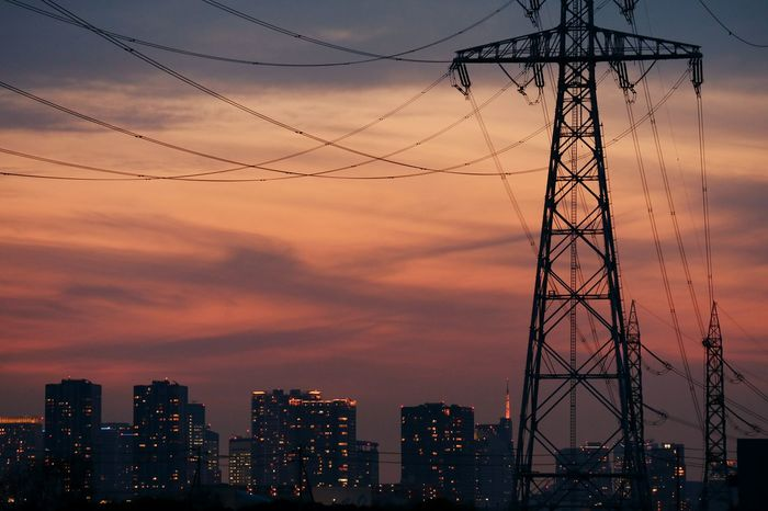 Highvoltage Steel Tower  Power Lines Wire Sunset Sunsets Sky Skyporn Cloud Cloudporn Tower Tokyo Tower Cityscape Tokyo Japan Evening Glow Nightphotography Nightview