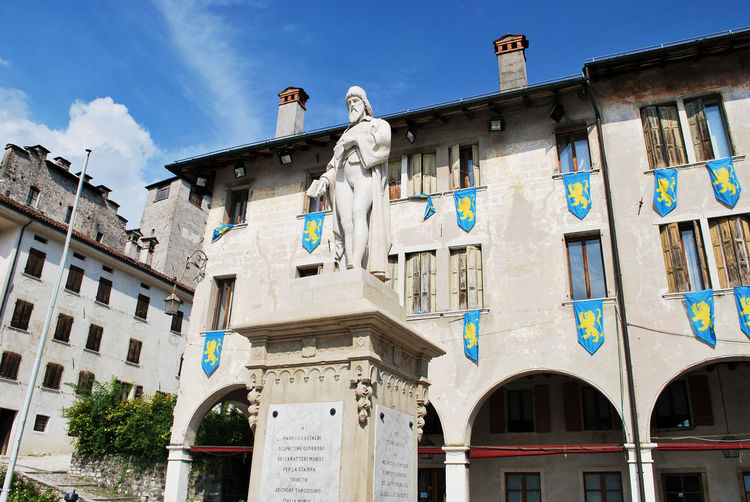 Monument to Panfilo Castaldi - Feltre. Belluno, Veneto, Italy. Feltre Belluno Veneto Italy Italia Travel Tourism Old Europe Italian European  Statue Art Sculpture Building Exterior Architecture Built Structure Low Angle View Travel Destinations History Outdoors The Past Blue City Panfilo Castaldi