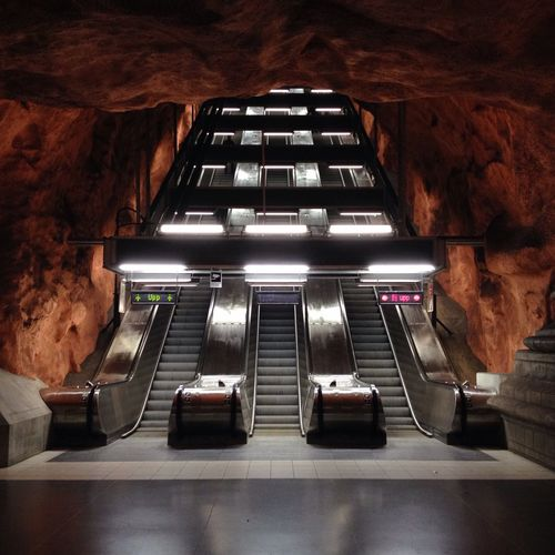 Illuminated escalators at radhuset metro station