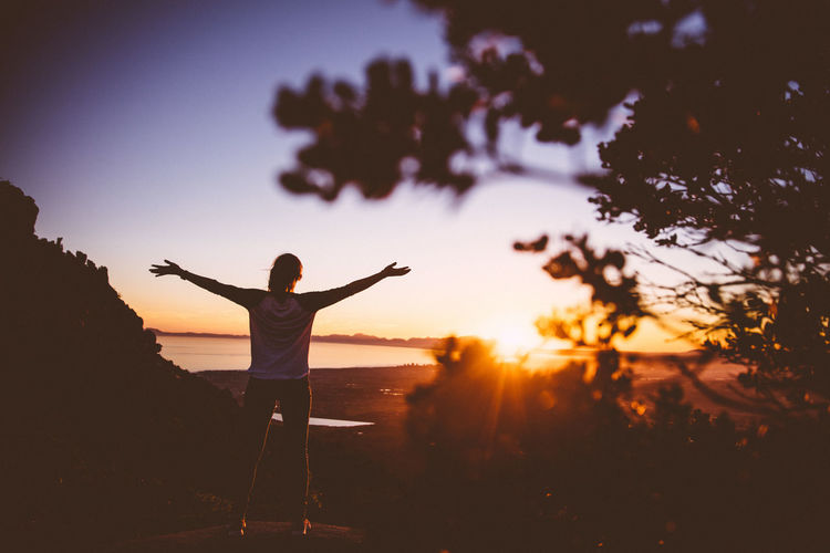 Arms Outstretched Back Lit Enjoyment Fun Fun Girl Happiness Idyllic Leisure Activity Lens Flare Lifestyles On The Way Orange Color Outdoors Scenics Sky South Africa Sunbeam Sunlight Sunset Tranquility Travel Travelling Watching Sunset Women