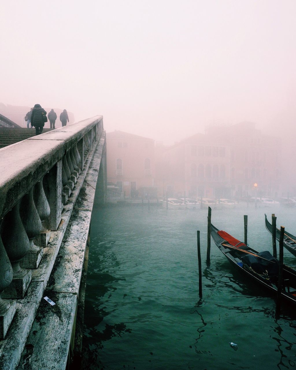 fog, water, outdoors, architecture, built structure, nature, transportation, day, nautical vessel, no people, building exterior, beauty in nature, sky, gondola - traditional boat