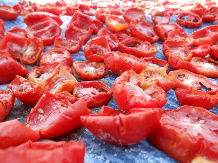 Full frame shot of chopped tomatoes for sale