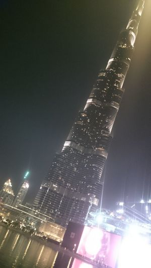 Architecture Building Exterior Built Structure City Dubai Kalifa Tower Illuminated Low Angle View Night Skyscraper Tower