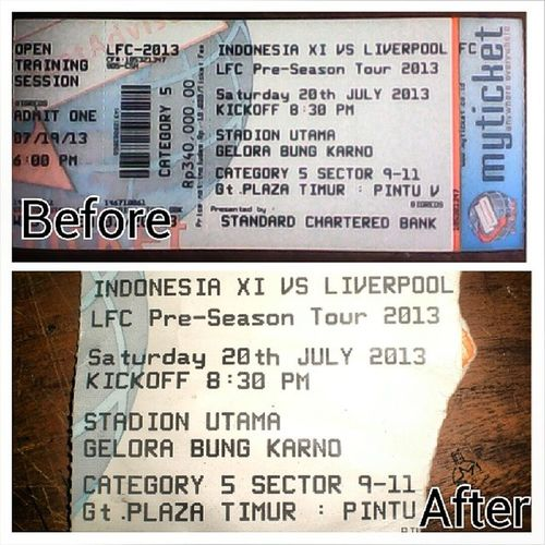 Ticket, Before and After the Match.... LFCTourIndonesia 20-7-2013