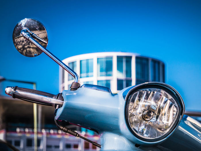 Blue star Blue Old-fashioned Retro Styled Sky Close-up Vintage Car Vehicle Office Building Vehicle Light