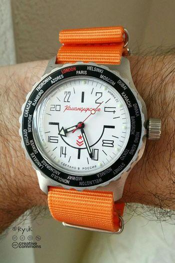 Taking Photos Streamzoofamily TheVille Watch 24 Hours 24 H Watch Vostok Komandirskie K35 Orange World Time Clock Made In Russia