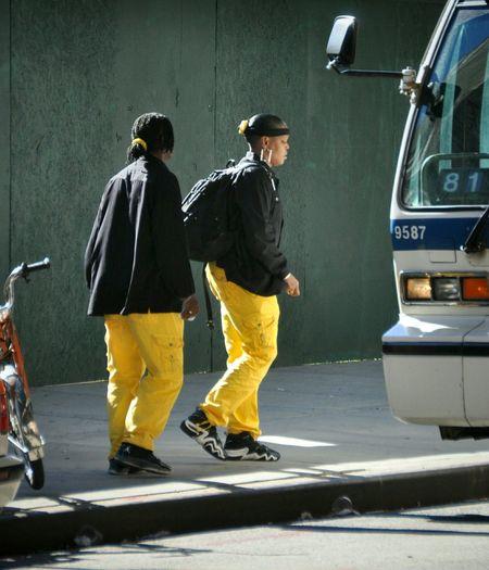 Brooklyn Bus Street Fashion Yellow Air Jordan Kicks Matching Colors Style 81 Nikon