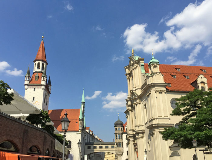 Architecture Bavaria Bavarian Building Exterior Built Structure Church Europe Façade Famous Place Germany History Landmark Marienplatz Munich Museum Old Town Outdoors Place Of Worship Religion Residence Spirituality Summer Tower Townhall Travel Destinations