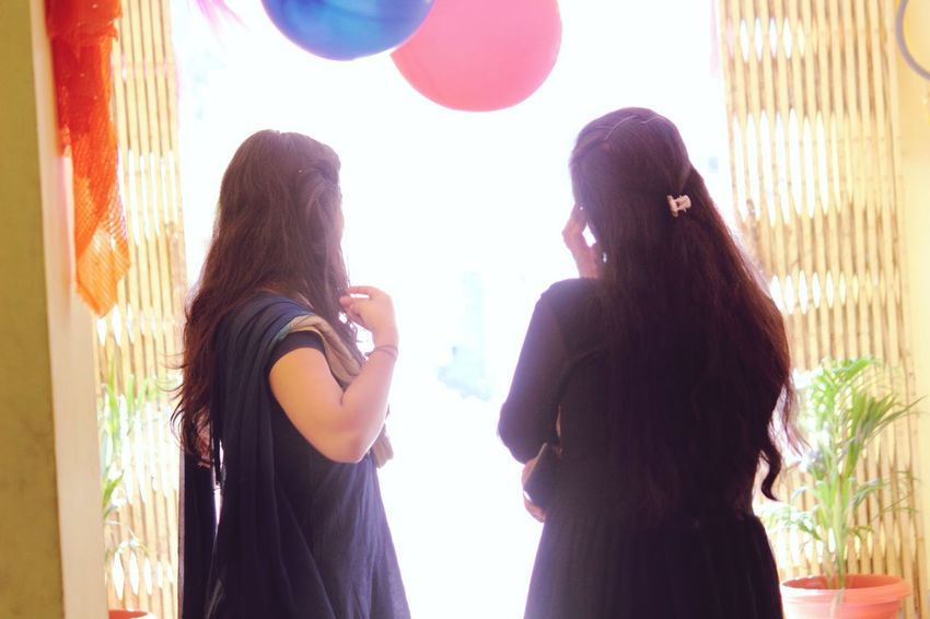 Faceless Expressions Friendship Women Standing Politics And Government Portrait Young Women Long Hair Window Silhouette Looking Through Window Outline Posing Ceremonial Make-up