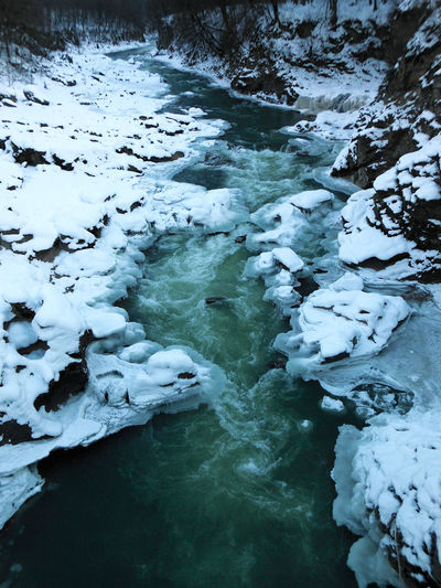 Close-up of frozen river