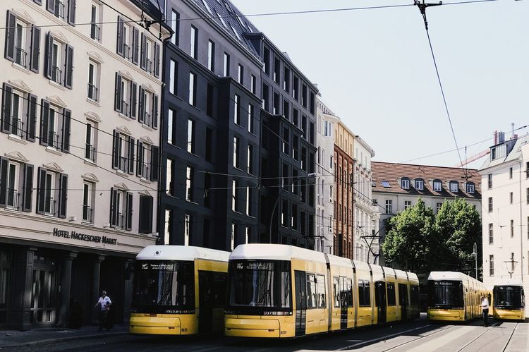 Paint The Town Yellow Architecture Building Exterior Built Structure City Day Land Vehicle Mode Of Transport No People Outdoors Public Transportation Sky Transportation