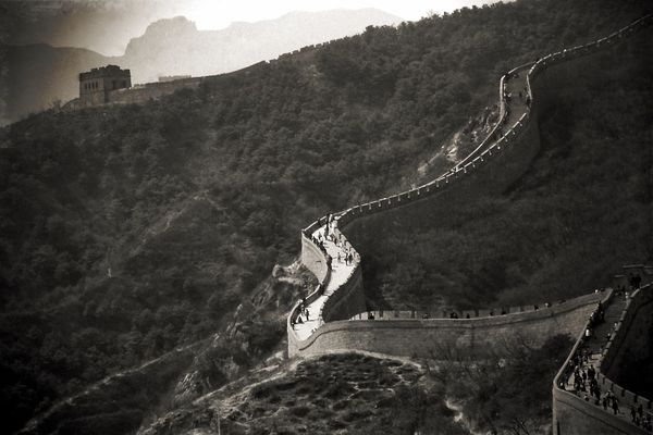 Ancient Built Structure Chinese Wall History Memories Scenics Tourism Travel Destinations A Bird's Eye View Retro Black And White