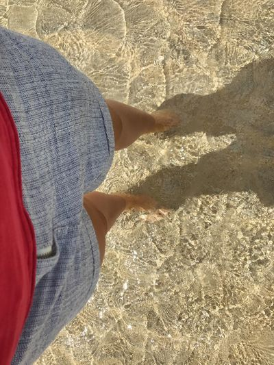 So clear and warm Love Living In Cornwall Family Time ♥ Out For A Walk Clear Water See Through Real People Sand Summer Sunny Day High Angle View Low Section One Person Human Leg Beach Shadow Outdoors Standing Leisure Activity Shorts ♥ Wet Feet Cornwall