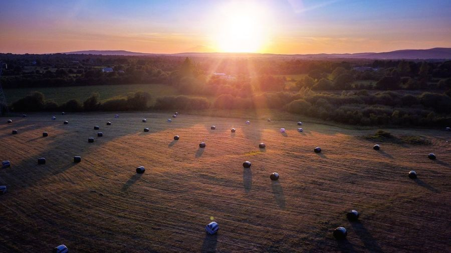 Sunset Sun Sunbeam Sunlight Scenics Beauty In Nature Nature Landscape Mountain Agriculture Outdoors Animal Themes Sky No People Dawn Day Hot Air Balloon Drone  Ireland Dji