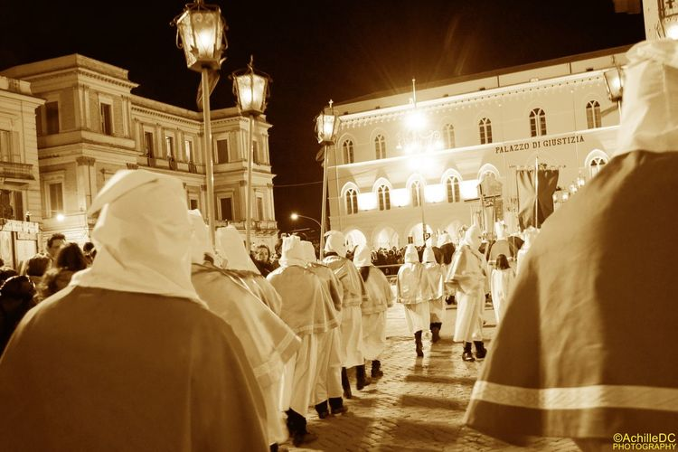 Chieti Cultures Famous Place Good Easter Procession Hooded Italy Large Group Of People Men Person Religion Spirituality Tradition