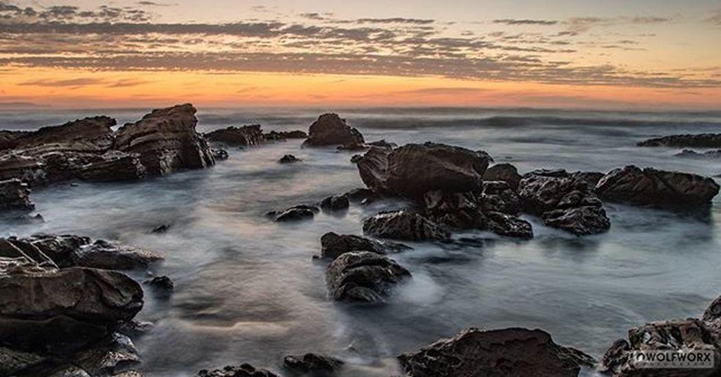 A rosary of rocks Sea Ocean Seashore Rocks Wet Waves Rockpool Landscape Sky Clouds Sunrise Morning Pentax Wolfworx Cityofeastlondon Summer Summertime Warm Feelgood Riseandshine