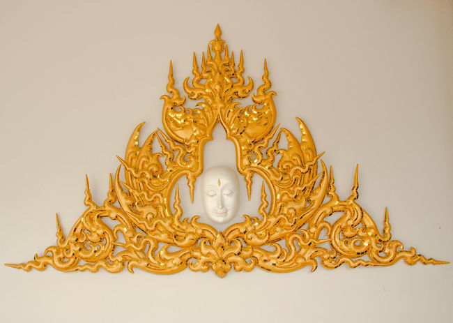 Gold Thai Design Art Molded Lime Pattern Stucco Temple Temple - Building Thai Art;