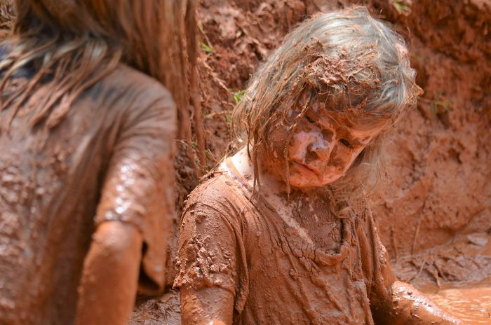 Children Having Fun Brown Child Childhood Close-up Day Dirty Mud Mudbath Muddy Nature No People Outdoors Playing In The Mud Togetherness EyeEm Ready