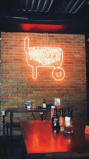 Brick Wall Neon Smoke House Smokey Meat Relax