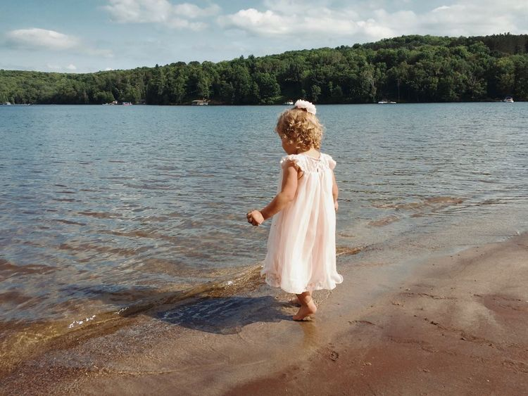 Beach Child Childhood Cute Dress Dressing Up Excited Fun Girl Inhibitions Kid Kids Being Kids Lake Landscape Pink Play Playing Sand Shore Shoreline Splashing Summer Swim Uninhibited Warm