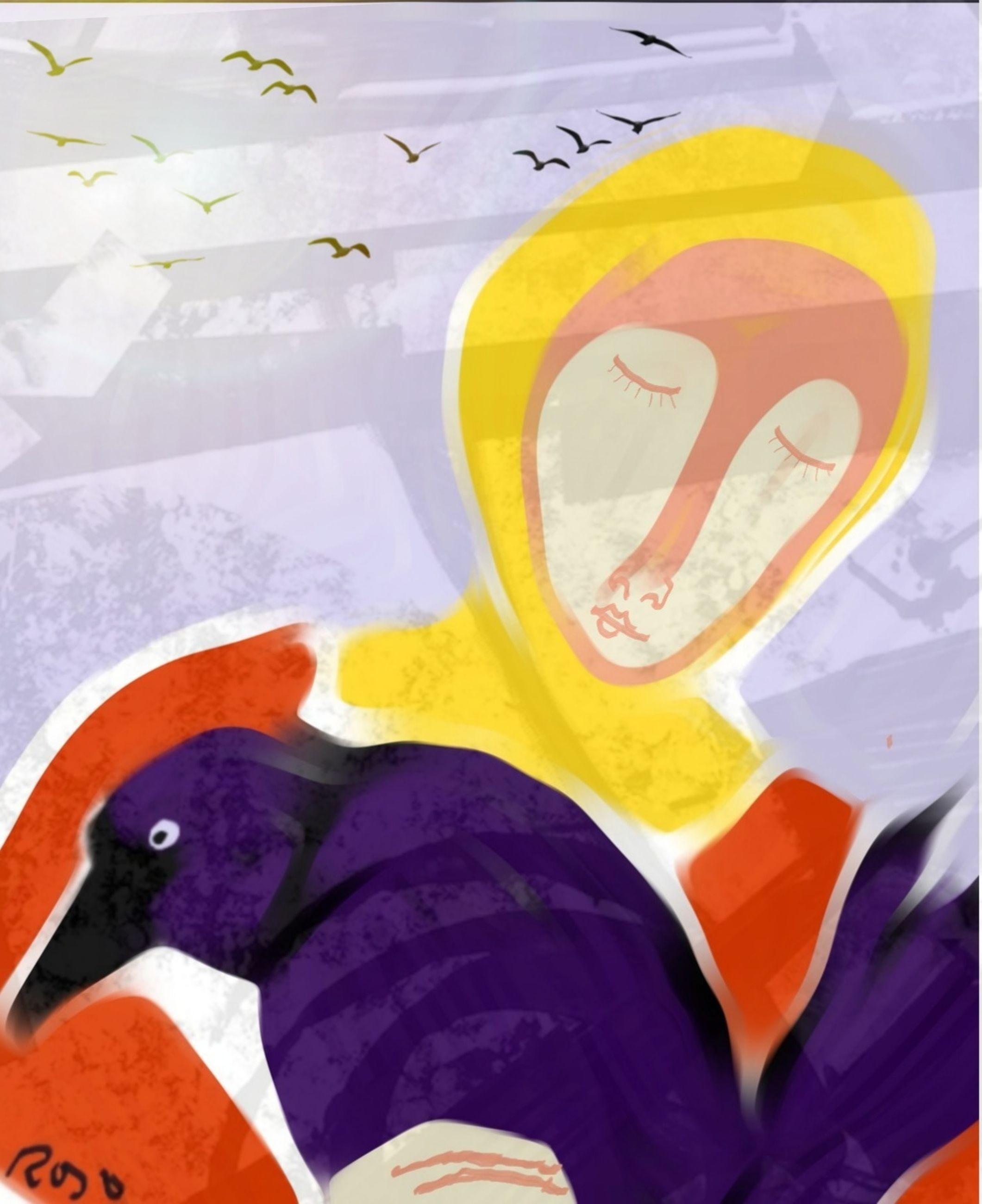 bird, cartoon, multi colored, creativity, paper, no people