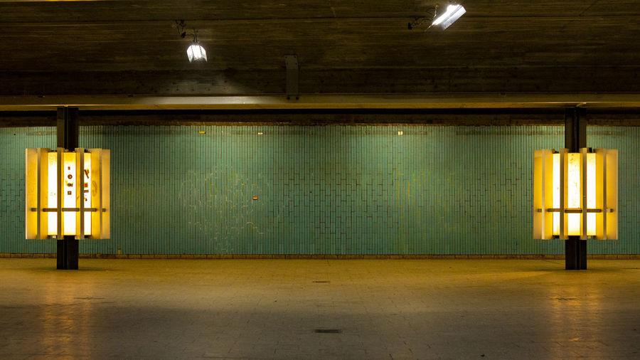 View of illuminated subway station