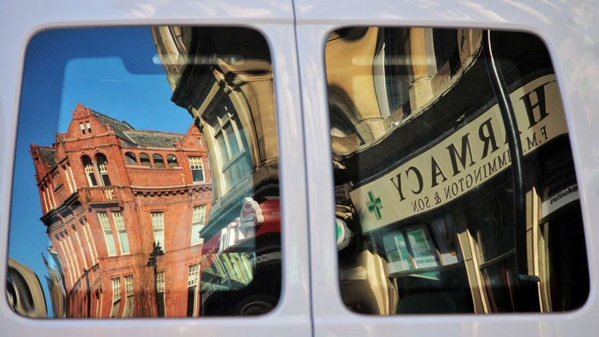 Bradford Van Windows Reflections Reflection Reflections In The Glass Windows Yorkshire Photography Chemist Pharmacy Flirt Icecream