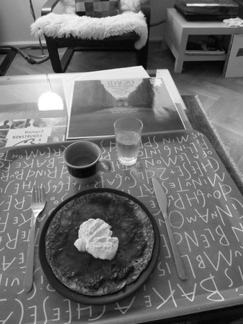 Tomaso Albinoni Adagio Good Music Pancake Jam Whipped Cream Espresso Water Enjoying Black And White