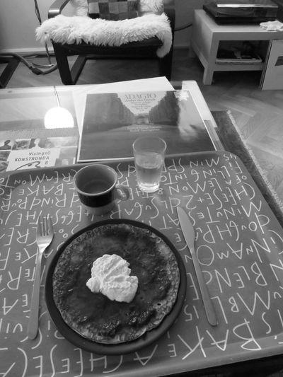 Tomaso Albinoni Adagio Good Music Pancake Jam Whipped Cream Espresso Water Enjoying Black And White