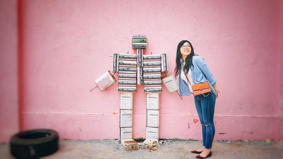 Pink Wall ♡♥♡ Real People Wall - Building Feature Standing Full Length Lifestyles Leisure Activity Casual Clothing People Day Wall