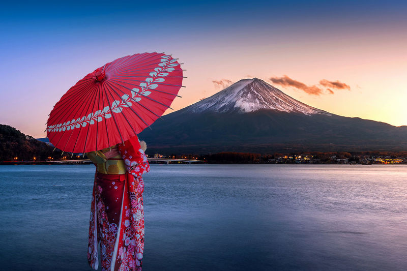 Woman wearing traditional clothing holding umbrella while standing by lake during sunset