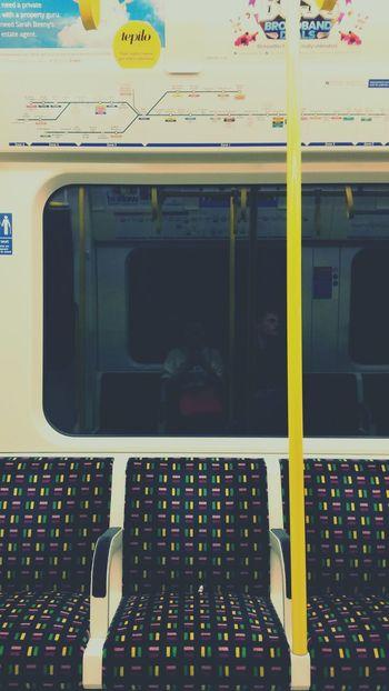 Empty tube in London Underground Seat Seats Tube Circleline